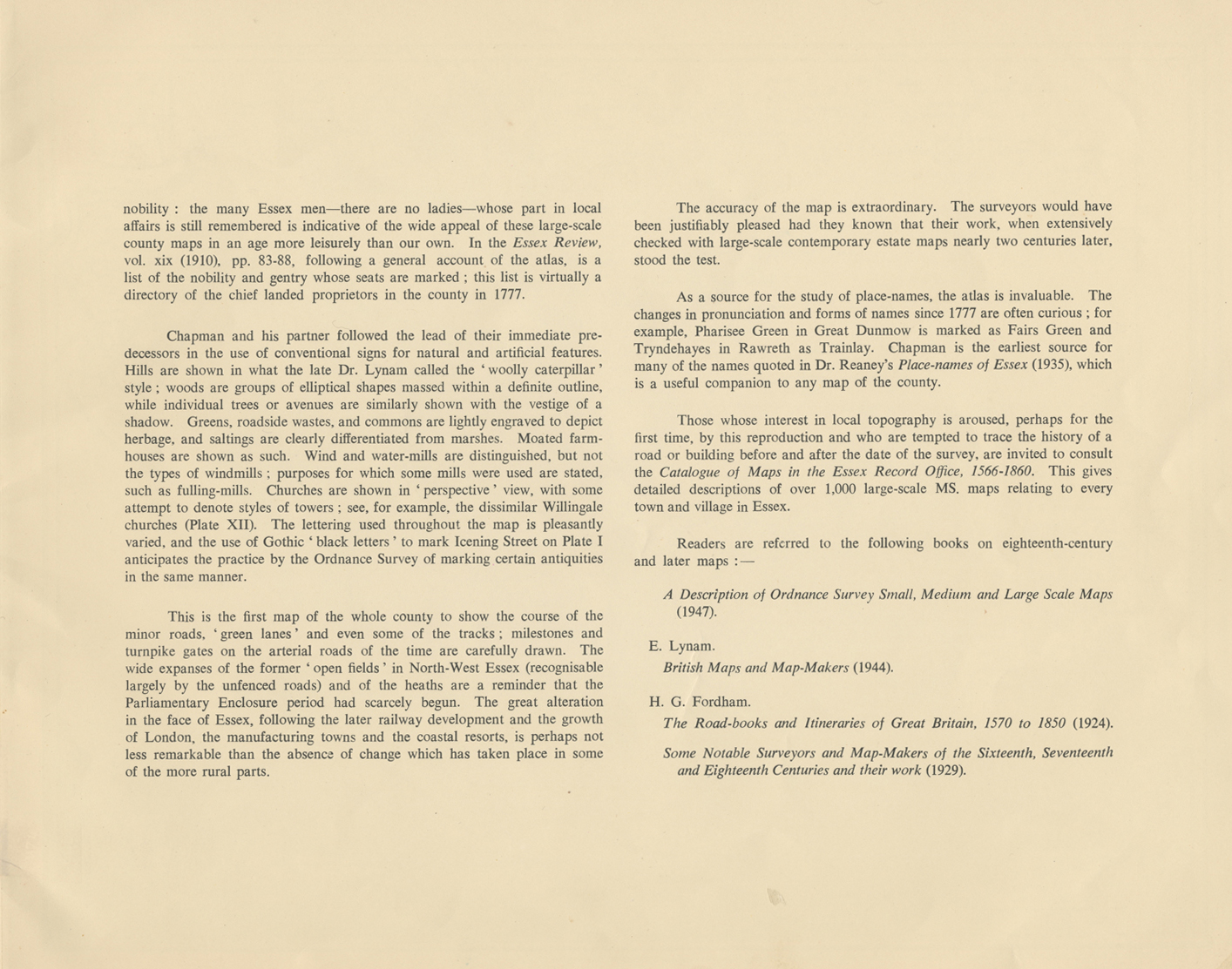 This image is a scan of the introductory text (p.5) from Essex Record Office publication A Reproduction of a Map of the County of Essex 1777 by John Chapman & Peter André, 1950. This introductory text is transcribed below.